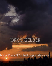 Dramatic Sunset Clouds over NY Harbor & Lower Manhattan.